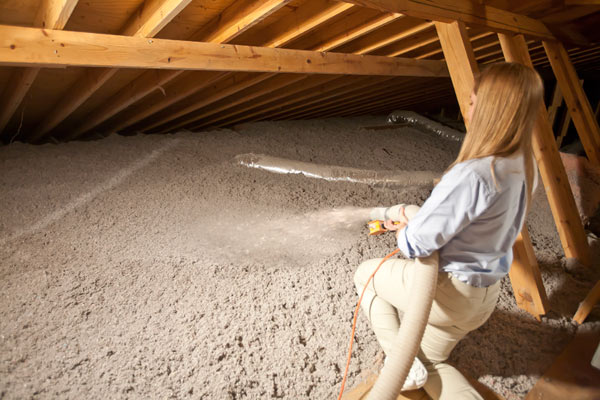Loosefill Insulation being blown into an attic & Celbar Loose Fill Blown in Insulation | CelBar